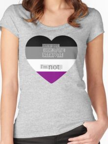 Let's get one thing straight, I'm not - Asexual heart flag Women's Fitted Scoop T-Shirt