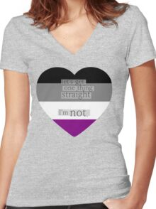 Let's get one thing straight, I'm not - Asexual heart flag Women's Fitted V-Neck T-Shirt