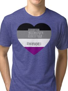 Let's get one thing straight, I'm not - Asexual heart flag Tri-blend T-Shirt