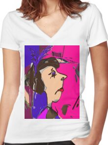 MRS.UPPERCLASS Women's Fitted V-Neck T-Shirt
