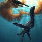 Krill feeding plesiosaurs by Brian Engh