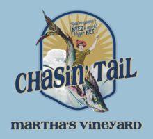 Chasin' Tail - Summer Fun - Martha's Vineyard - Vacation Souvenir T-Shirt - Girl Riding Fish by traciv