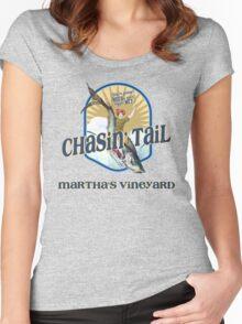 Chasin' Tail - Summer Fun - Martha's Vineyard - Vacation Souvenir T-Shirt - Girl Riding Fish Women's Fitted Scoop T-Shirt