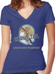 Chasin' Tail - Summer Fun - Martha's Vineyard - Vacation Souvenir T-Shirt - Girl Riding Fish Women's Fitted V-Neck T-Shirt
