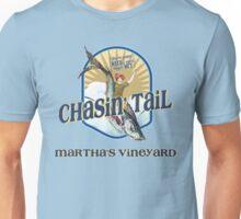 Chasin' Tail - Summer Fun - Martha's Vineyard - Vacation Souvenir T-Shirt - Girl Riding Fish Unisex T-Shirt