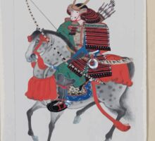 Samurai on horseback wearing armor and horned helmet carrying bow and arrows 001 Sticker