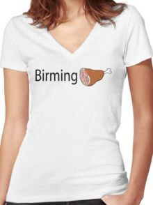 Birmingham Black text Women's Fitted V-Neck T-Shirt