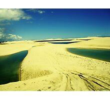 3 Lakes on Yellow Dunes - Jericoacoara, Brazil Photographic Print