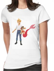 Aerith (Pink) and Cloud - Little Mermaid Womens Fitted T-Shirt