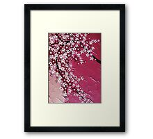 Pink zen cherry blossoms branch with flowers Framed Print