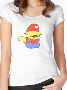 Pikachu/Mario Women's Fitted Scoop T-Shirt
