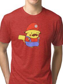 Pikachu/Mario Tri-blend T-Shirt
