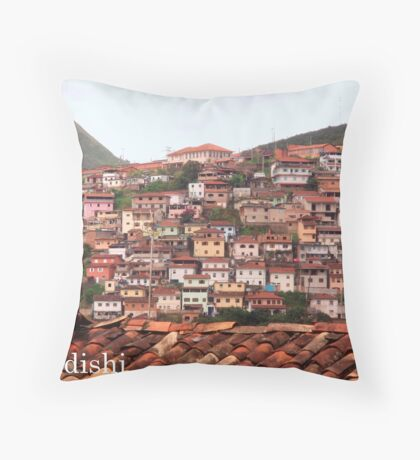 Houses on the Mountain Side, Ouro Preto, Brazil Throw Pillow