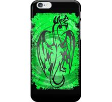 Neon green black grunge dragon iPhone Case/Skin