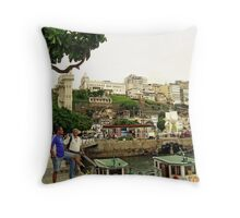 Salvador Old Port at Noon Throw Pillow