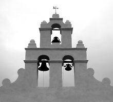 San Juan Bell Tower 3 Black and White by marybedy