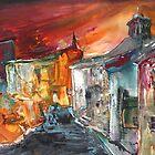 Spain - Spanish Village by Night by Goodaboom