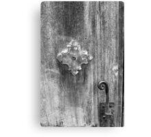 San Juan Door Detail with Latch bw Canvas Print