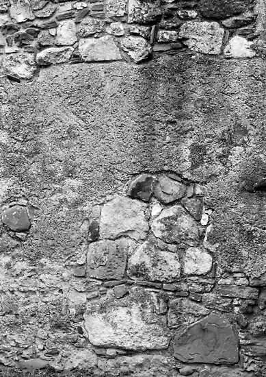 San Juan Wall 2 Black and White by marybedy