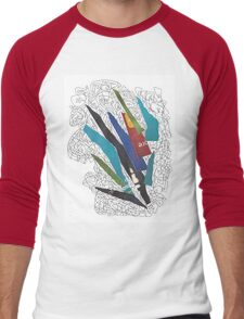 Collage rayado 2 Men's Baseball ¾ T-Shirt