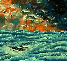 Boat in Rough Seas by George Hunter