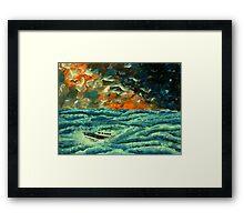 Boat in Rough Seas Framed Print