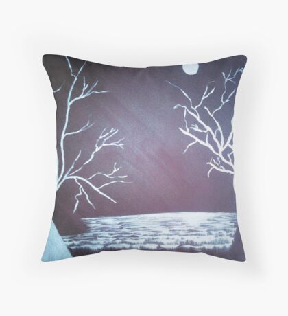 Snow Fields - Acrylic Painting Throw Pillow