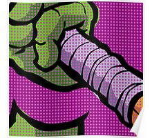 Lichtenstein Pop Martial Art Quelonians | Purple Poster
