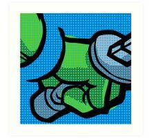 Lichtenstein Pop Martial Art Quelonians | Blue Art Print