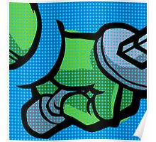 Lichtenstein Pop Martial Art Quelonians | Blue Poster