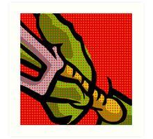 Lichtenstein Pop Martial Art Quelonians | Red Art Print