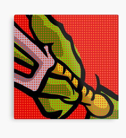 Lichtenstein Pop Martial Art Quelonians | Red Metal Print