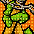 Lichtenstein Pop Martial Art Quelonians | Orange by butcherbilly