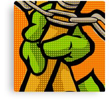 Lichtenstein Pop Martial Art Quelonians | Orange Canvas Print