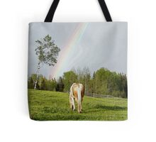 Palomino Paint Horse and Rainbow Artwork Tote Bag