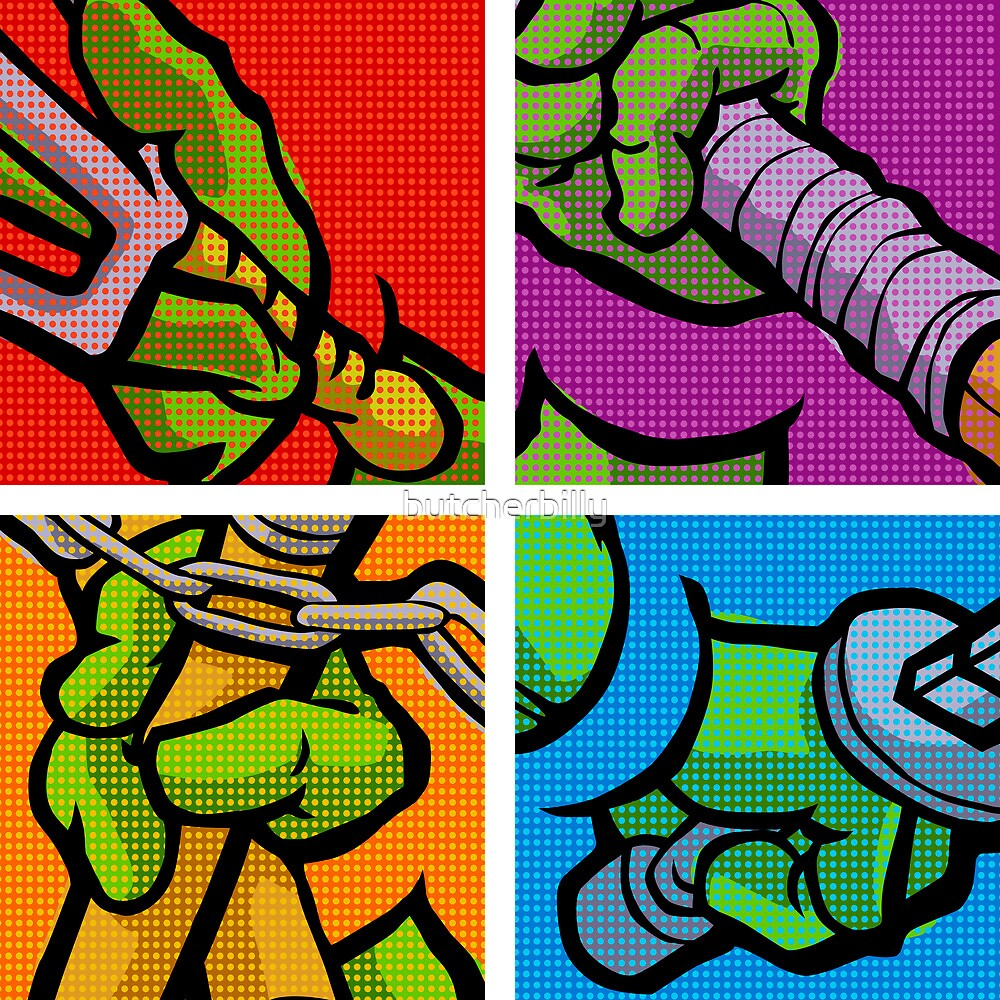 Lichtenstein Pop Martial Art Quelonians Full Set by butcherbilly
