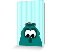 Silly Little Dark Cyan Monster Greeting Card