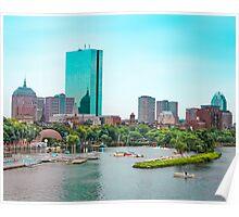 Boston City Skyline over the Charles River Poster
