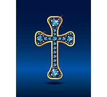 Christian Cross in Gold with Sapphire Stones Photographic Print