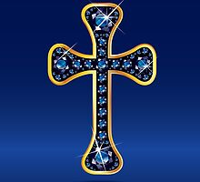 Christian Cross in Gold with Sapphire Stones by Stacey Lynn Payne