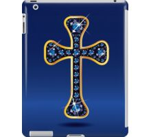 Christian Cross in Gold with Sapphire Stones iPad Case/Skin
