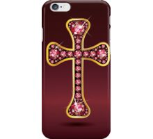 Christian Cross in Silver with Ruby Stones iPhone Case/Skin