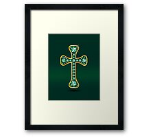 Christian Cross in Gold with Emerald Stones Framed Print