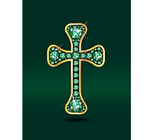Christian Cross in Gold with Emerald Stones Photographic Print