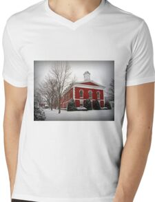 Iron County Courthouse in the Snow Mens V-Neck T-Shirt