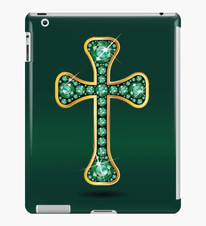 Christian Cross in Gold with Emerald Stones iPad Case/Skin