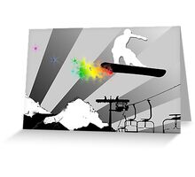snowboard powder trail Greeting Card