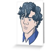 Unicorn Sherlock (Black) Greeting Card