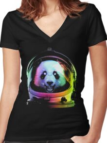 Astronaut Panda Women's Fitted V-Neck T-Shirt