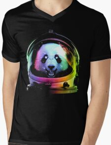 Astronaut Panda Mens V-Neck T-Shirt